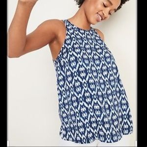 *2/$20* Old Navy Blue/White High Neck Tank Top